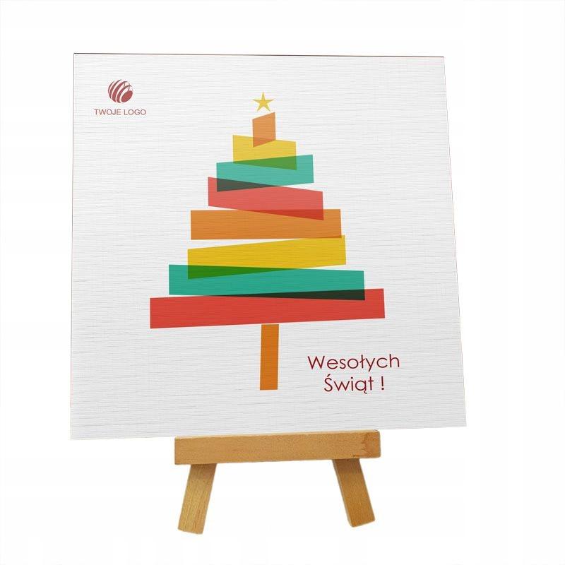"""Kartka Świąteczna """"Choineczka"""" z logo"""