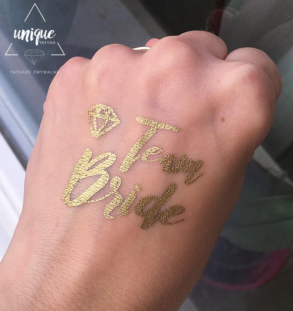 Wieczór Panieński Team Bride Złoty Tatuaż Diament 7015923098