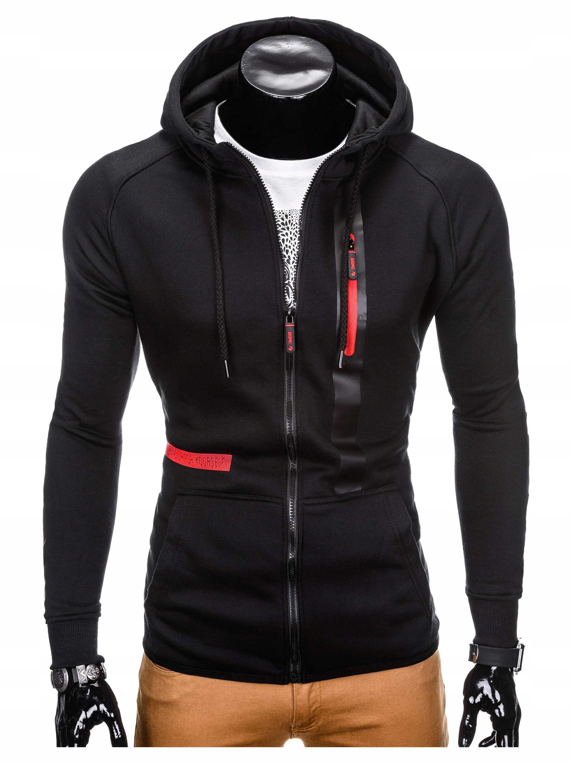 Bluza sportowa kangurka z zamkiem B746 czarna XXL