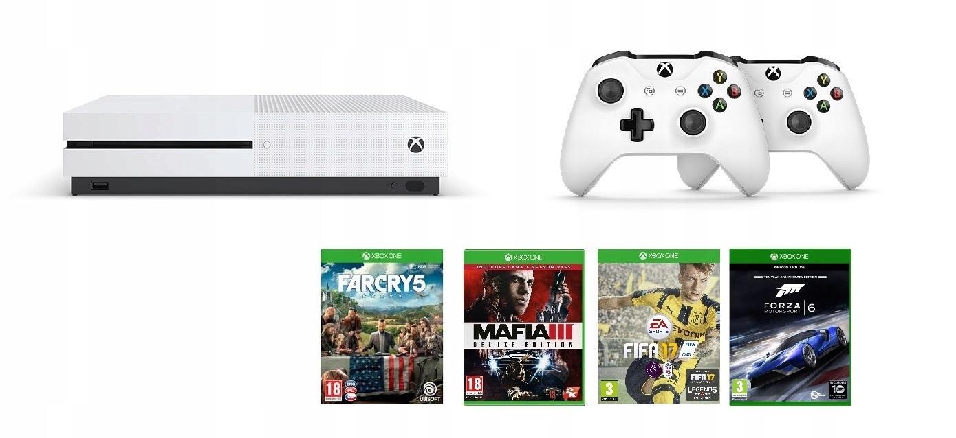 XBOX ONE S 1TB + 2 pady+Far Cry 5 Mafia Fifa Forza