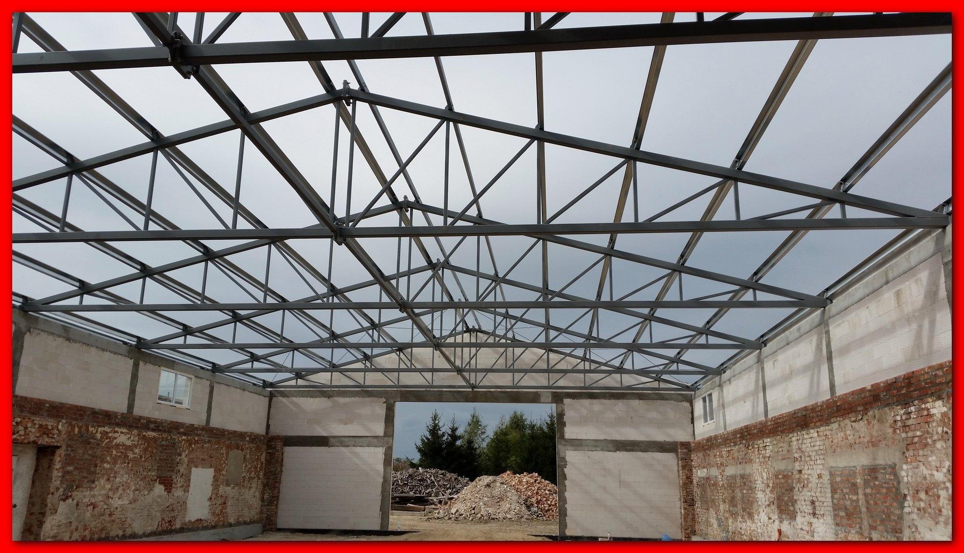 Nowość Konstrukcja stalowa dachu. Wiązary dachowe 16x37m. - 7113022457 OM48