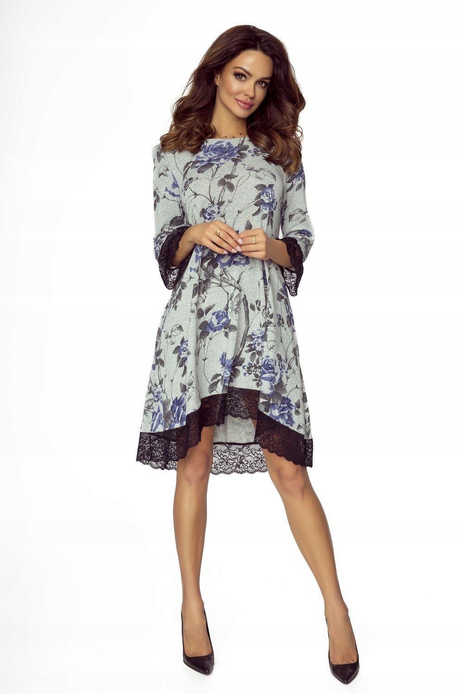 3cfea65e42 Trapezowa sukienka z koronką Reina - szara XL - 7628864980 ...