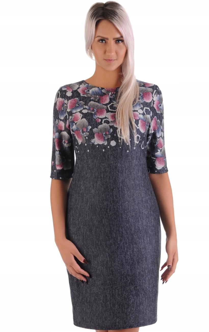 a2ce00ad23 N36 Piękna melanżowa sukienka w KWIATY (42-50) R42 - 7539630308 ...