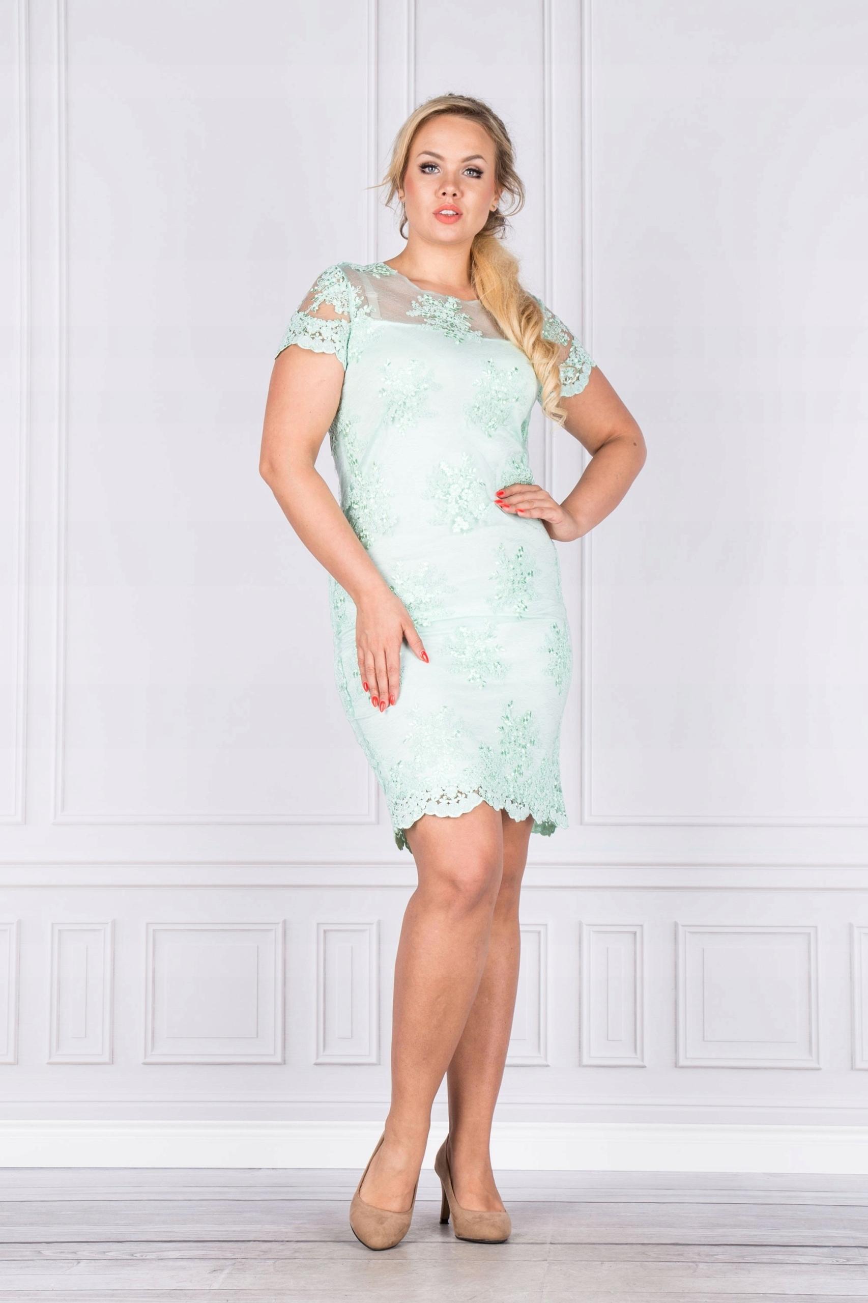 60b6d0f6a2 Sukienka koktajlowa koronkowa Zielony 42 - 7439552127 - oficjalne ...