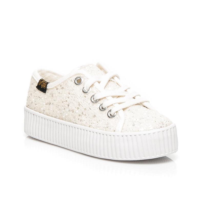 b356b5c3b5ae1 BROKATOWE TRAMPKI Z OCIEPLENIEM 31 białe buty - 7423788491 ...