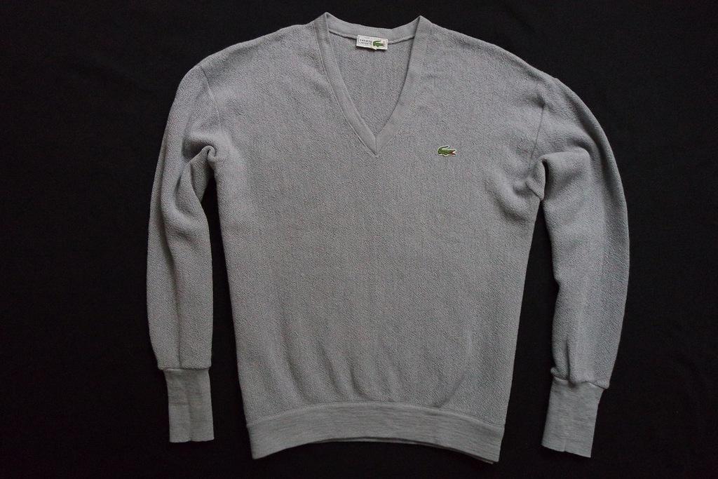 LACOSTE sweter sweterek szary 100% WEŁNA logo___XL