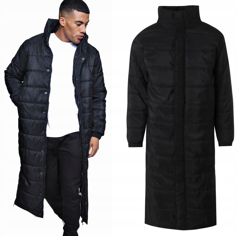 czarna długa kurtka męska