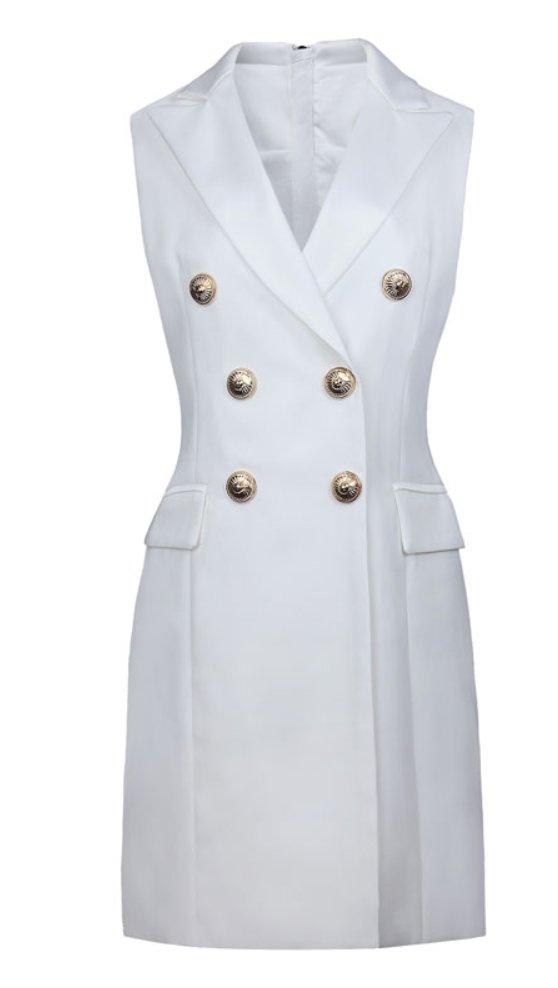 SUKIENKA ZŁOTE GUZIKI klasyczna biała elegancka M