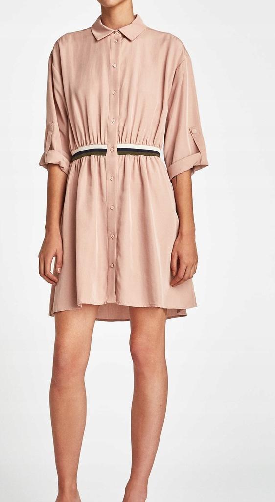 ZARA różowa sukienka koszulowa 100% lyocell, r. M