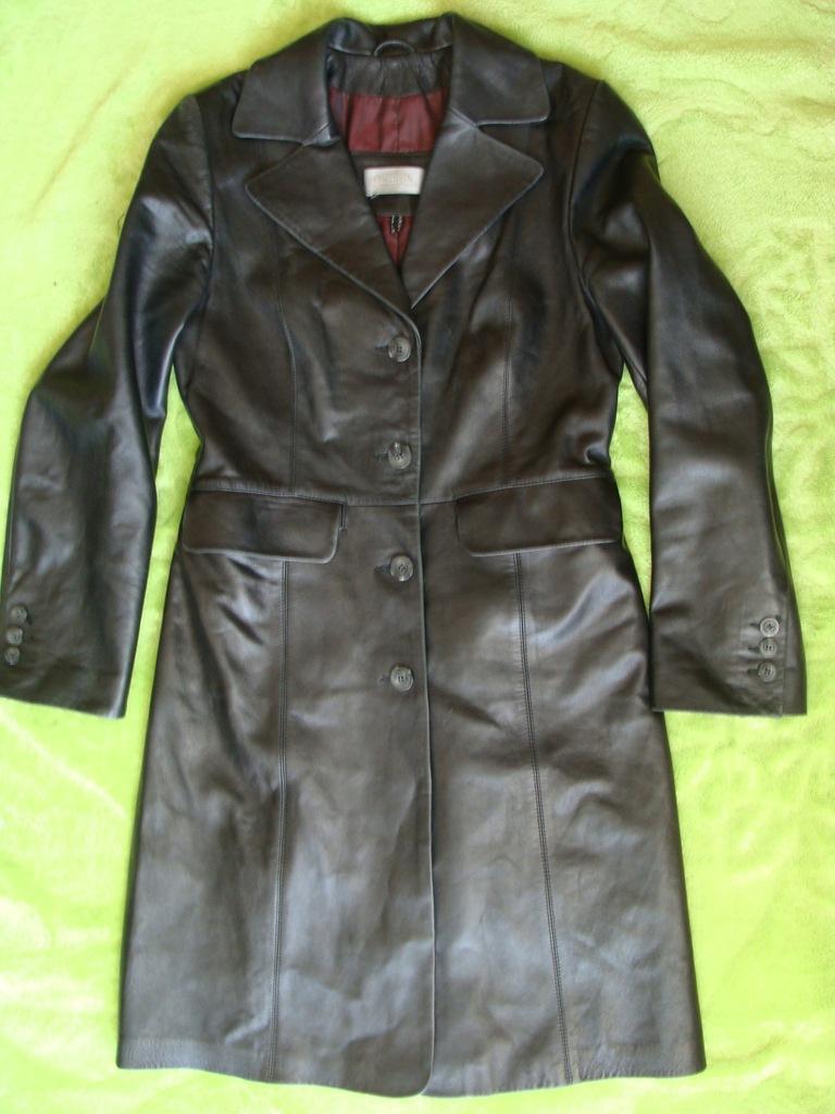 OCHNIK płaszcz skórzany CZARNY dobry stan TANIO 36