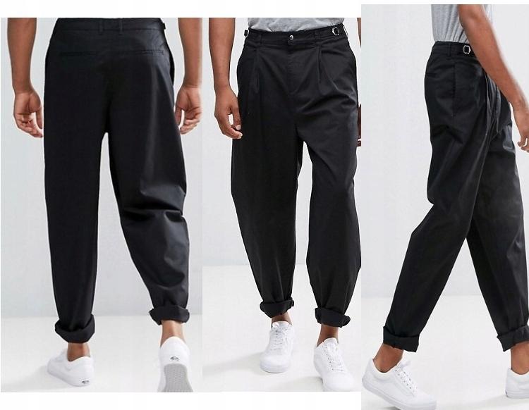 A414 spodnie czarne traper W36in L36in