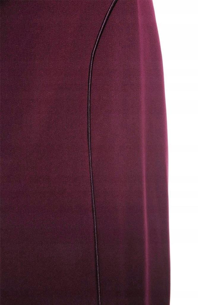 Bordowa prosta spódnica z lamówką 60