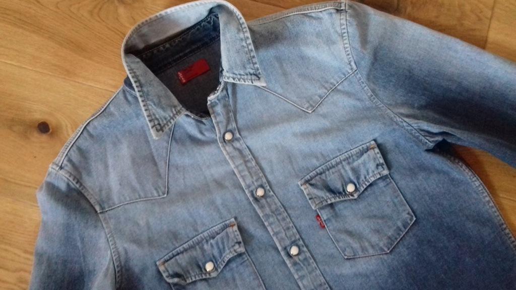 Koszula jeans LEVI S jeansowa perłowe zatrzaski M w Koszule