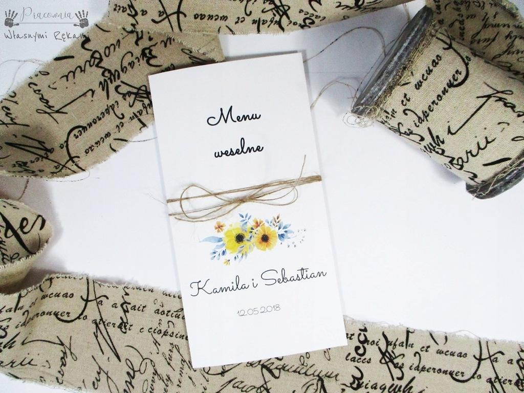 Menu weselne Żółte kwiaty