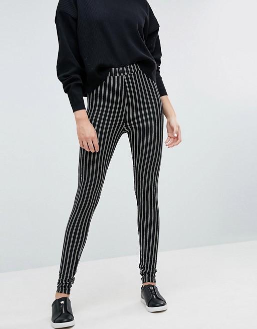 AA TALL spodnie rurki w czarno białe paski 38