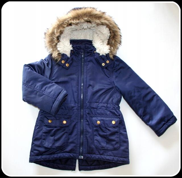 Kurtka zimowa H&M granatowa dziewczynka 104