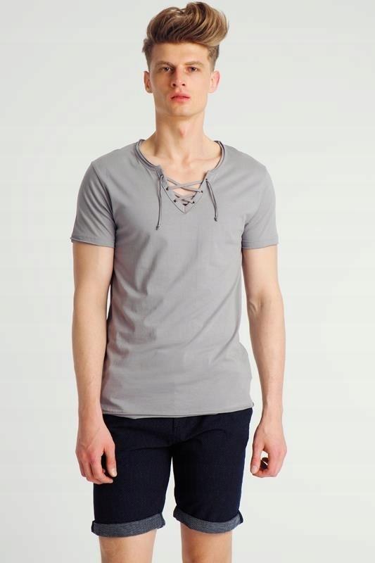 T shirt męski wiązany przy szyi niebieski Urban Surface