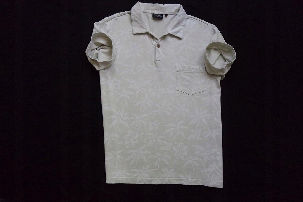 COTTONFIELD koszulka polo beżowa kwiaty logo____XL