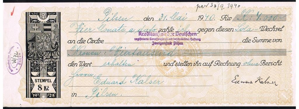 WEKSEL - Wechsel - Pilsen 31 mai 1940