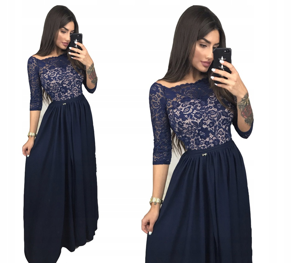 Sukienka elegancka długa koronka bal wieczorowa 46