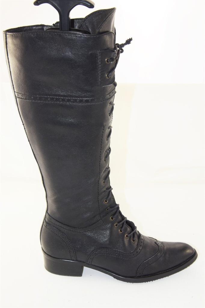 New LUX Czarne Sznurowane Wiązane Oficerki Kozaki Zdjęcie
