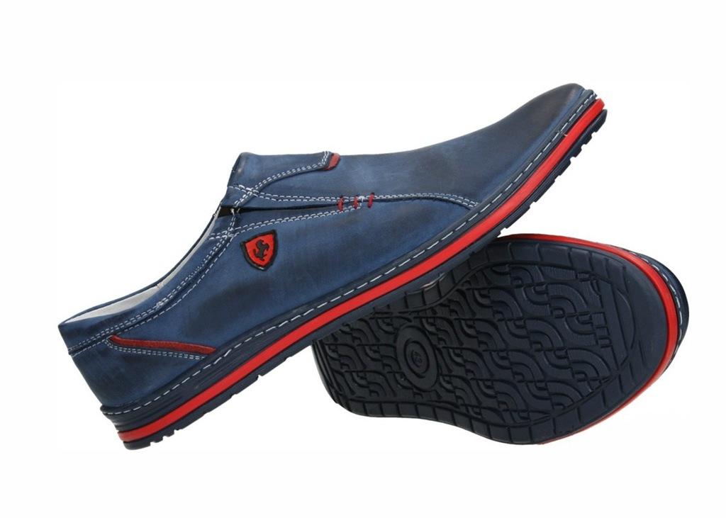 Buty męskie mokasyny wsuwane skóra czarne od dobrebutypl