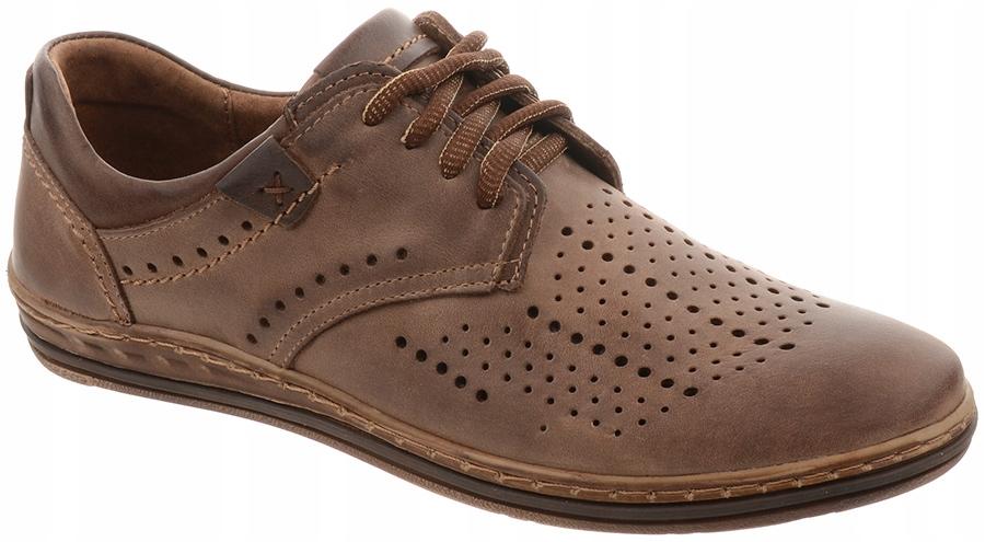 allegro skórzane buty męskie ażurowe