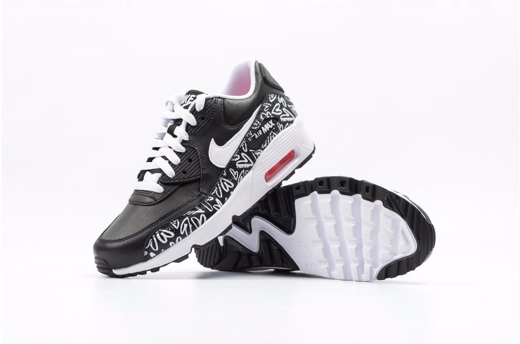 Nike Air Max 90 Print Ltr Gs 844616 001   Biały, Czarny
