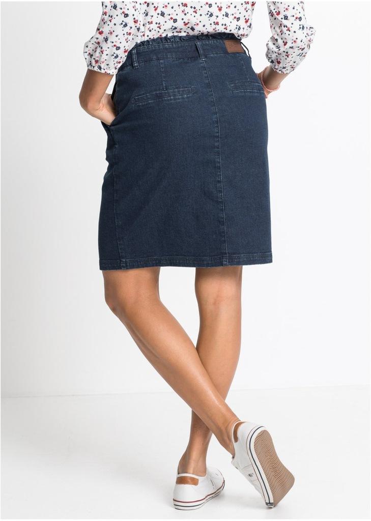 Niebieska jeansowa prosta spódnica