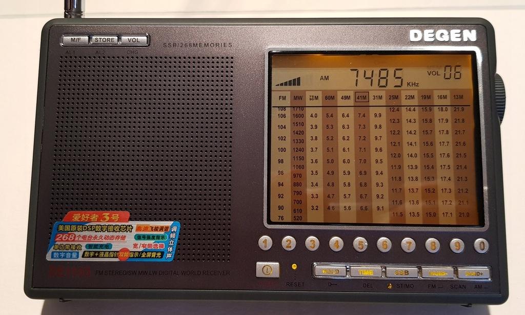 Radio globalne Degen DE110 FM/AM/MW/SW z pasmem CB