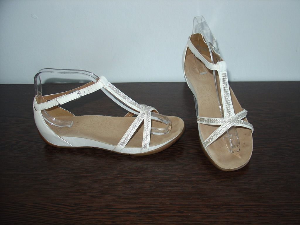 CLARKS Skórzane sandały damskie gladiatorki j.nowe