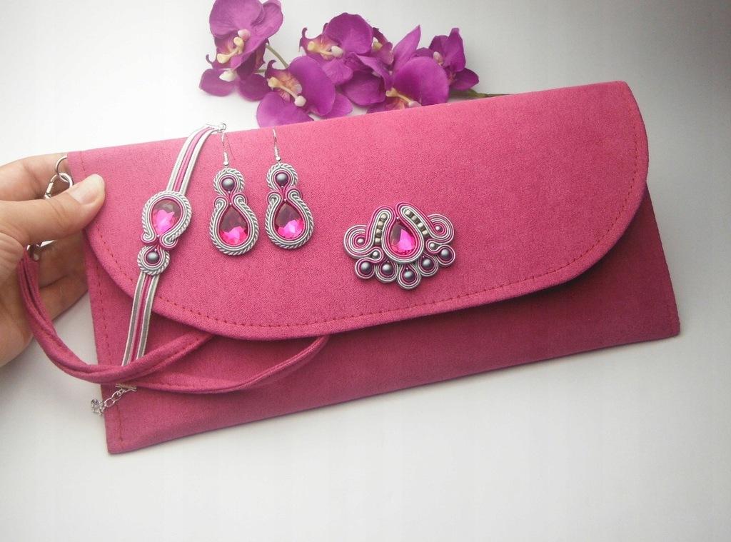 Soutache torebka kopertówka fuksja róż kobaltowa