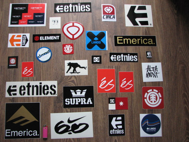 Vlepki, naklejki skateboard. dc, vans, etnies, emerica
