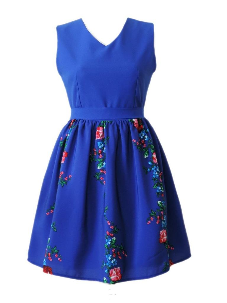 Sukienka folkowa ludowe kwiaty szafirowa XL folk