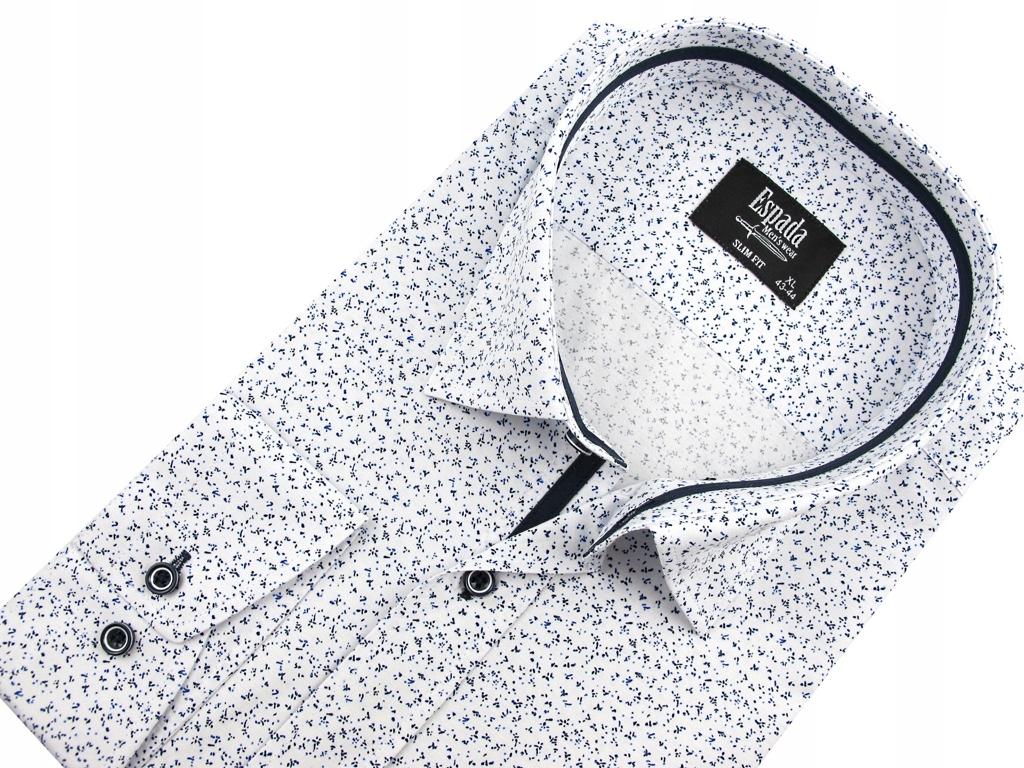 Koszula Męska biała w kropki SLIM FIT na długi rękaw D938 (Espada)