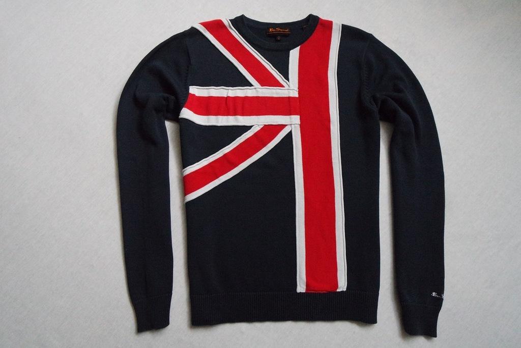 BEN SHERMAN sweter sweterek granatowy logowany___S