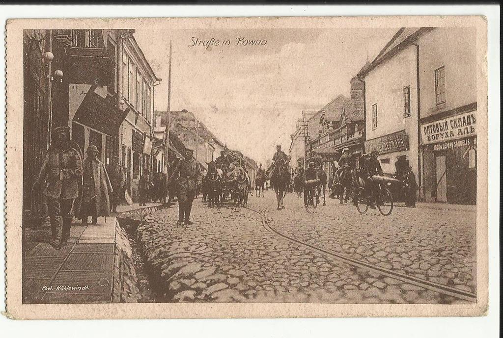 Kowno Kaunas Ulicówka Wojsko Obieg Feldpost 1917 r