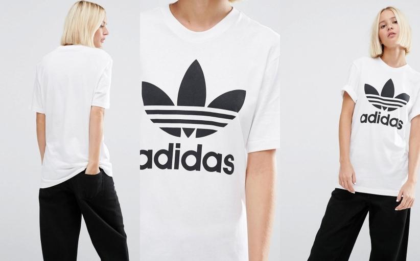 T shirt damski biały z nadrukiem ADIDAS