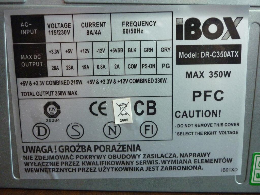 Zasilacz komputerowy iBox 350W
