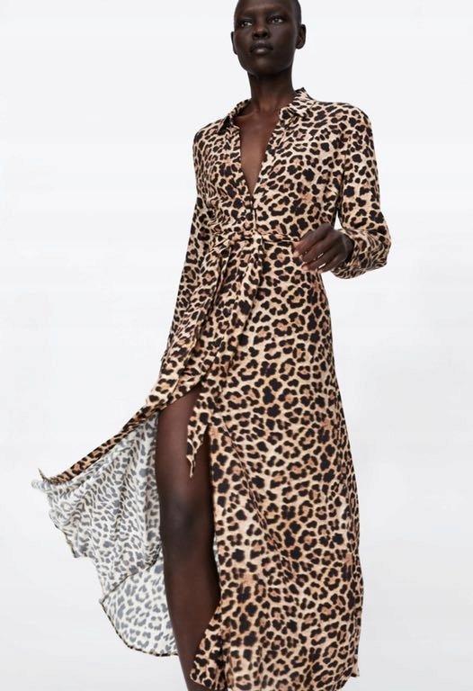 ZARA Sukienka w zwierzęcy wzór leopad M38