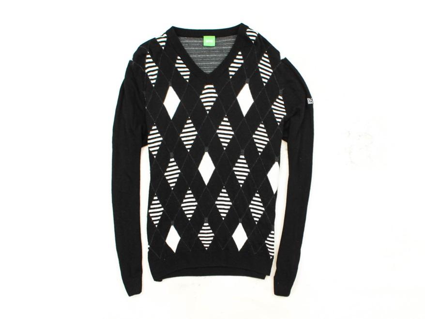 *M Hugo Boss Green Sweter Męski V-Neck Wełna r L