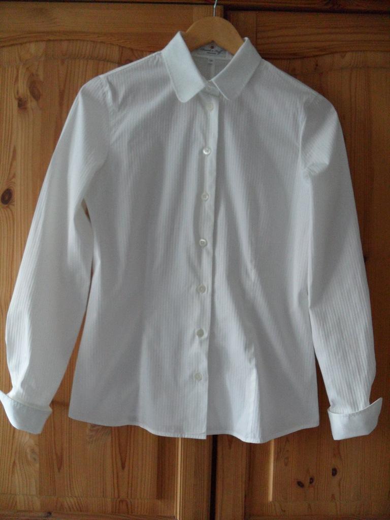 Koszula biała ze stójką damska S,dł rękaw wywijany