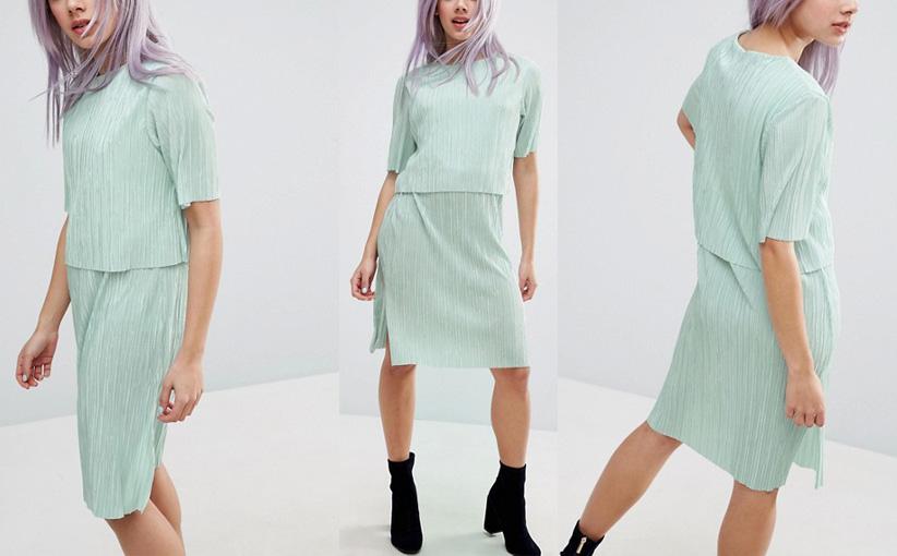 Boho komplet sukienka zielona top i spódnica