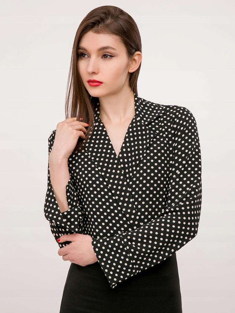 Koszula czarna w białe kropki z żabotem body S 36 www