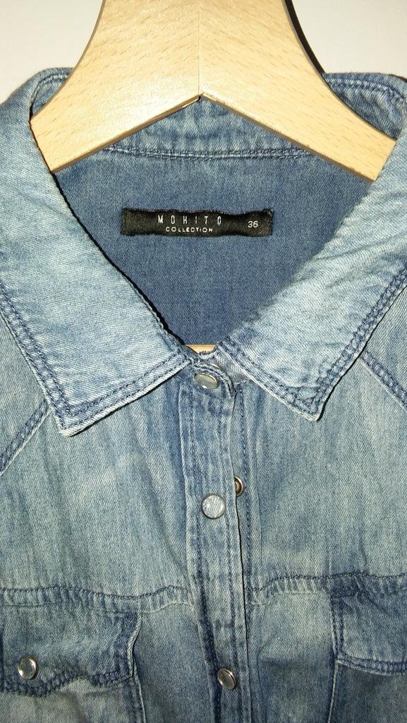 Koszula jeans Mohito naszywki 7296677519 oficjalne  o6HWM