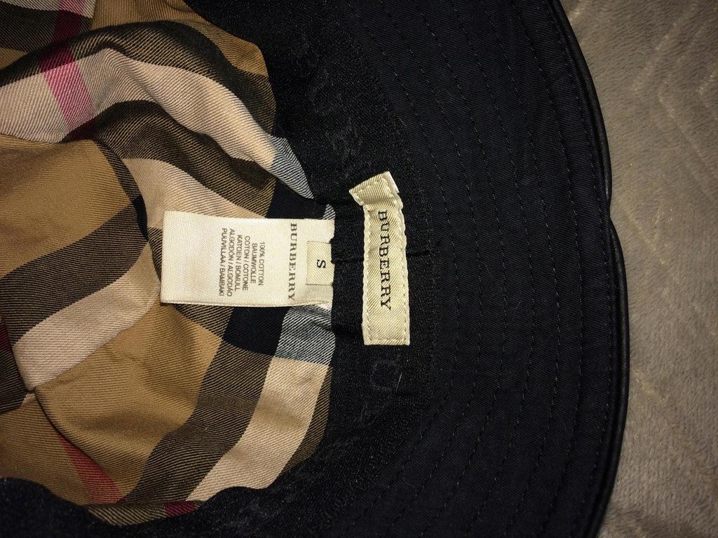 BURBERRY kapelusz roz. S 100% bawełna czarny