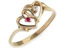 ZŁOTY 585 pierścionek 2 SERCA z RUBIN. zaręczynowy