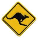 Naszywka UWAGA Kangury na drodze - haftowany znak