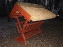 Paśnik karmnik dla zwierząt z drewna strzecha