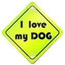 I LOVE MY DOG ODBLASK NEON NA AUTO PRZYSSAWKI